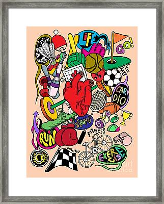 Hand Drawn Doodle Sport Equipment, Illustrator Line Tools Drawin Framed Print