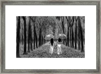 Hand In Hand - Sisters Framed Print