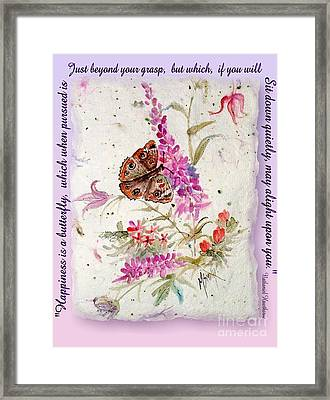 Happiness Is A Butterfly Framed Print by Marilyn Smith