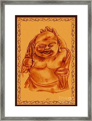 Happy Buddha Framed Print by RJ Roskom