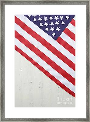 Happy Fourth Of July Usa Flag On White Wood Table Framed Print by Milleflore Images