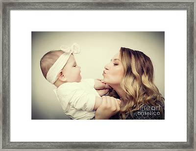 Happy Moments. Mother Holding And Playing With Her Baby. Vintage Framed Print