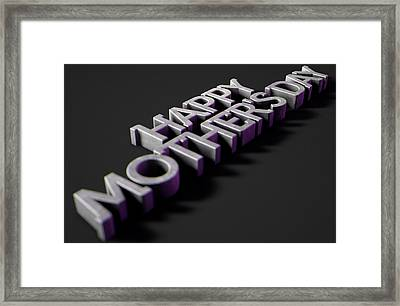 Happy Mothers Day Text On Black Framed Print by Allan Swart