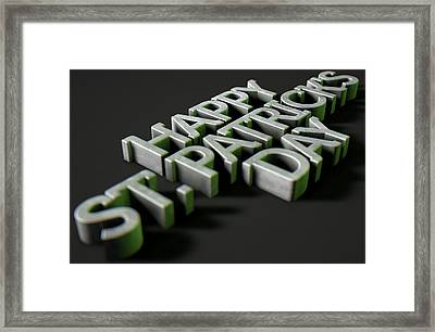 happy st patricks day Text On Black Framed Print