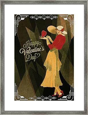 Framed Print featuring the digital art Happy Valentines Day by Jeff Burgess