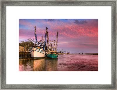 Harbor Sunset Framed Print by Debra and Dave Vanderlaan