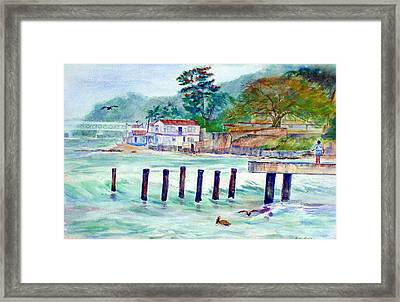Hard Fishing Day Framed Print by Estela Robles
