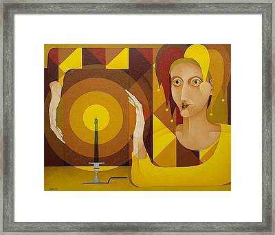 Harlequin With Candle   2004 Framed Print by S A C H A -  Circulism Technique
