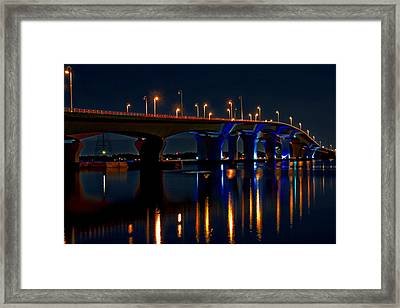 Hathaway Bridge At Night Framed Print by Anthony Dezenzio