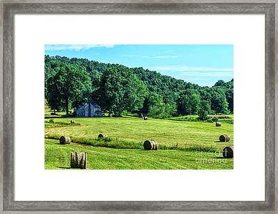 Hay Bales And Farm House Framed Print by Thomas R Fletcher