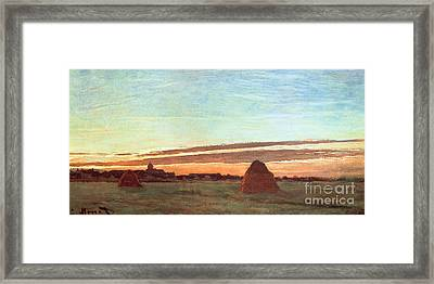 Haystacks At Chailly Framed Print