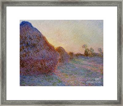 Haystacks Framed Print by Claude Monet