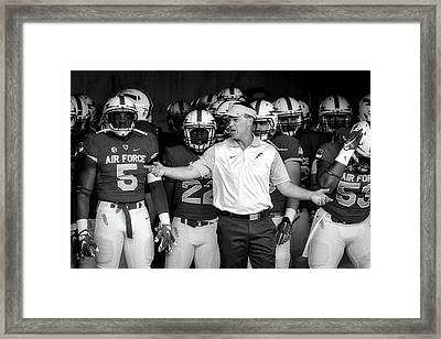 Head Coach Troy Calhoun And The Air Force Academy Falcons Framed Print by Liz Copan