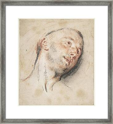 Head Of A Man Framed Print by Antoine Watteau