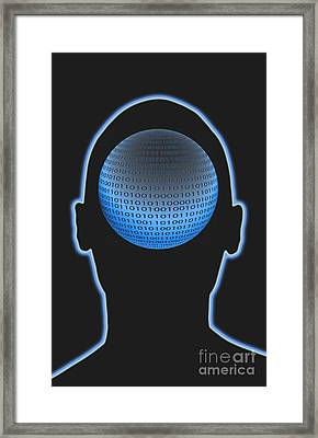 Head With Binary Numbers Framed Print by George Mattei