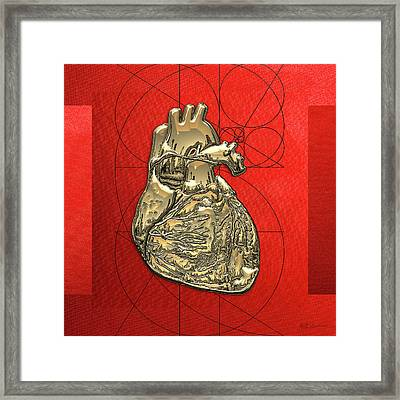 Heart Of Gold - Golden Human Heart On Red Canvas Framed Print