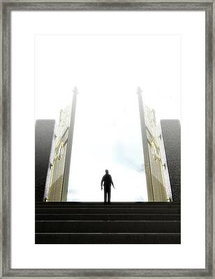 Heavens Gates And Silhouette Framed Print