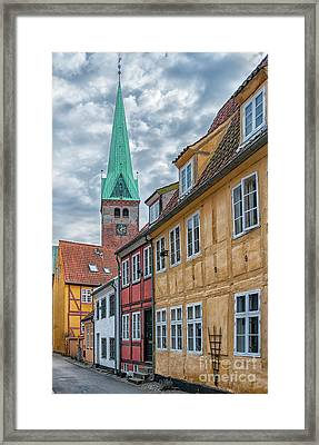 Framed Print featuring the photograph Helsingor Narrow Street by Antony McAulay