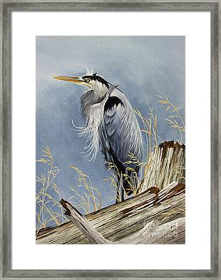 Framed Print featuring the painting Herons Windswept Shore by James Williamson
