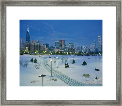 High Angle View Of Snow Covered Framed Print