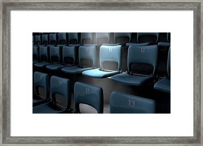Highlighted Stadium Seat Framed Print by Allan Swart