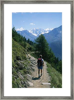 Hiking The Piz Muragl Mountain Framed Print by Taylor S. Kennedy