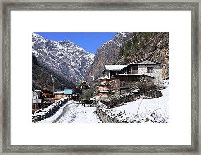 Framed Print featuring the photograph Himalayan Mountain Village by Aidan Moran