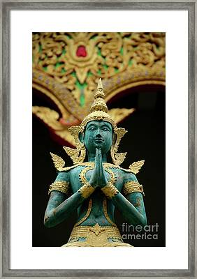 Hindu Deity Greets At Buddhist Temple Chiang Mai Thailand Framed Print by Imran Ahmed