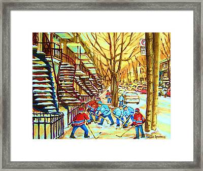 Hockey Game Near Winding Staircases Framed Print by Carole Spandau