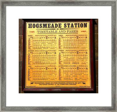 Hogsmeade Station Timetable Framed Print by David Lee Thompson
