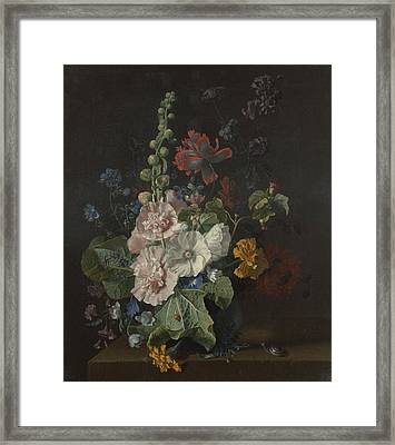 Hollyhocks And Other Flowers In A Vase Framed Print