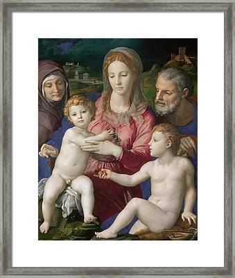 Holy Family With St. Anne And The Infant St. John Framed Print by Bronzino
