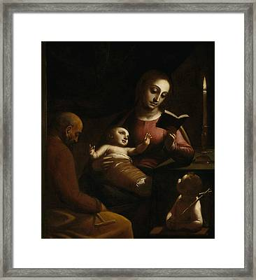 Holy Family With St John The Baptist Framed Print by Luca Cambiaso