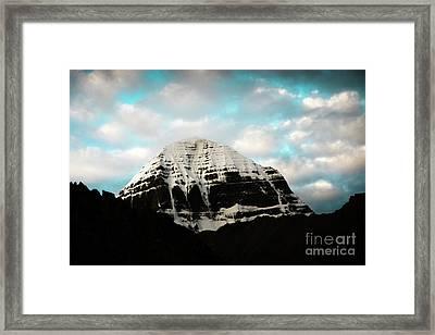 Holy Kailas East Slop Himalayas Tibet Yantra.lv Framed Print by Raimond Klavins