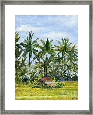Framed Print featuring the painting Home Bali Ubud Indonesia by Melly Terpening