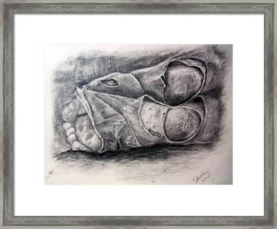 Homeless Feet Framed Print