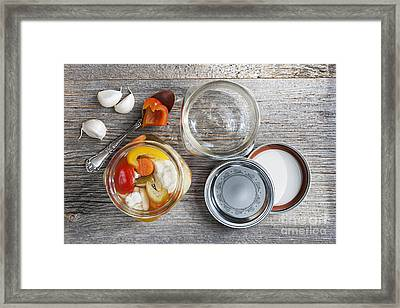 Homemade Preserved Vegetables Framed Print by Elena Elisseeva