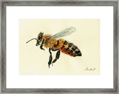 Honey Bee Watercolor Painting Framed Print
