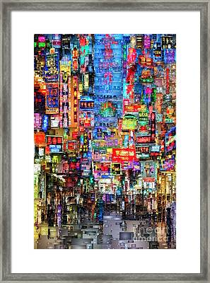 Hong Kong City Nightlife Framed Print