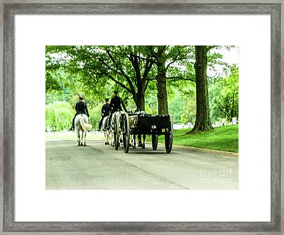 Horse And Caisson Team At Arlington Cemetery Framed Print by William Rogers