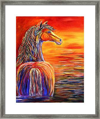 Framed Print featuring the painting Horse In Still Waters by Jennifer Godshalk