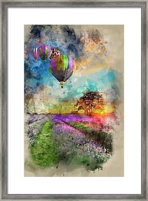 Hot Air Balloons Flying Over Lavender Landscape Sunset Framed Print by Matthew Gibson
