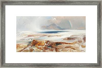 Hot Springs Of The Yellowstone Framed Print by Thomas Moran