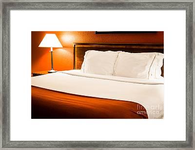 Hotel Room Bed Framed Print