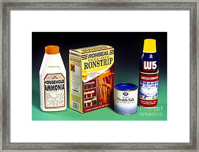 Household Acids And Bases Framed Print by Martyn F. Chillmaid