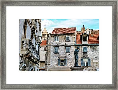 Houses And Cathedral Of Saint Domnius, Dujam, Duje, Bell Tower Old Town, Split, Croatia Framed Print by Elenarts - Elena Duvernay photo