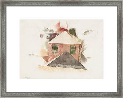 Houses With Red Framed Print by Charles Demuth