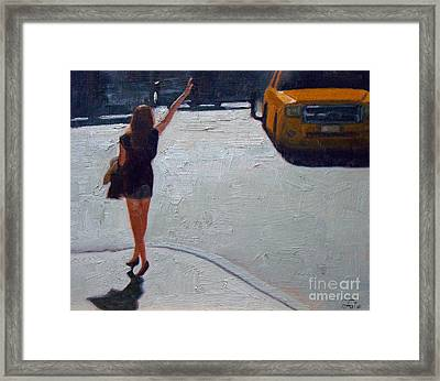 How To Hail A Cab Framed Print