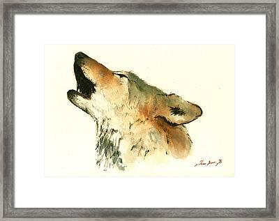 Howling Wolf Framed Print by Juan  Bosco