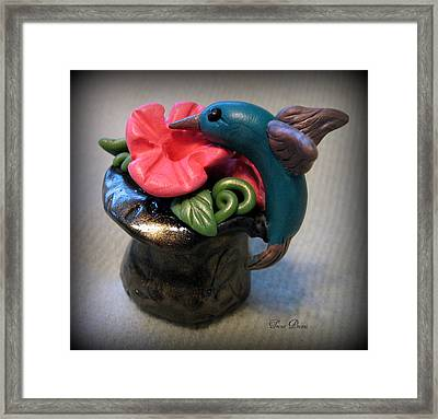 Humming Bird And Flower Framed Print by Trina Prenzi